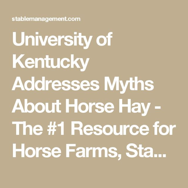 University of Kentucky Addresses Myths About Horse Hay - The #1 Resource for Horse Farms, Stables and Riding Instructors | Stable Management