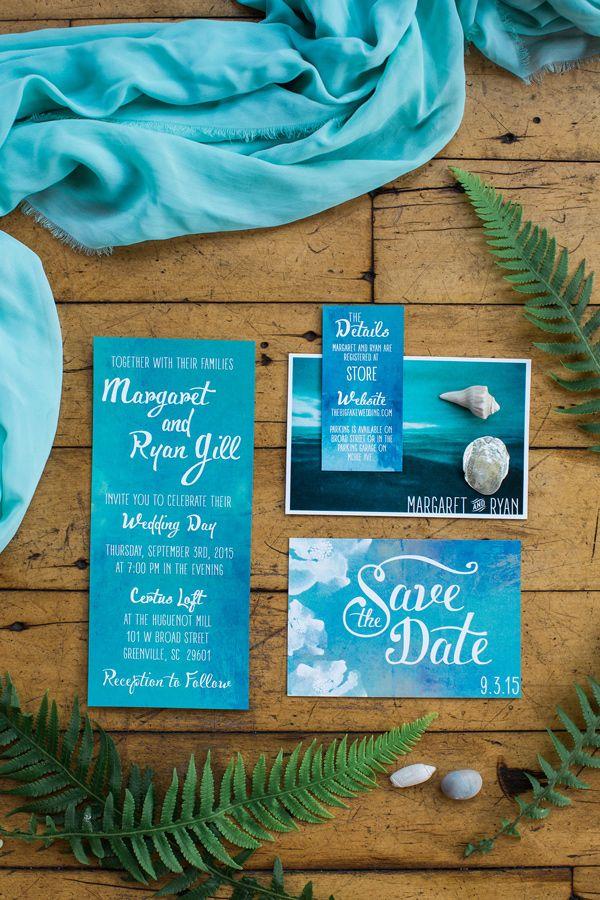 beach inspired invitations - photo by Casto Photography http://ruffledblog.com/high-tide-inspired-wedding-in-greenville