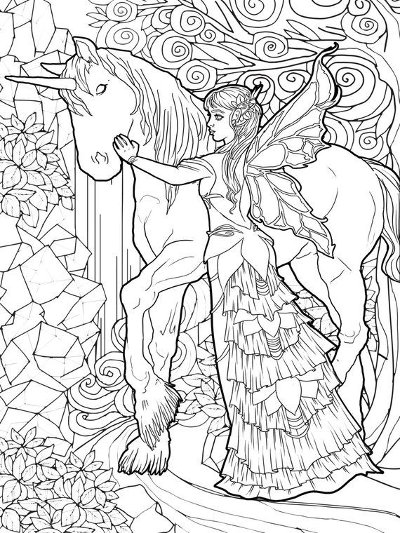 Magical Unicorns and Fairies: Adult Coloring Book, Unicorn ...