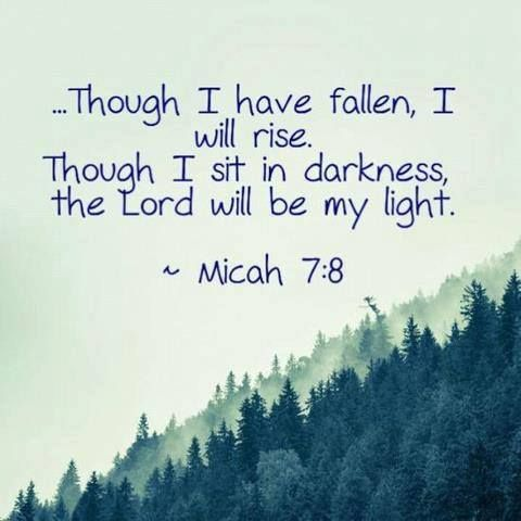 MICAH 7:8 (KJV) Do not rejoice over me, my enemy; When I fall, I will arise; When I sit in darkness, The Lord will be a light to me.