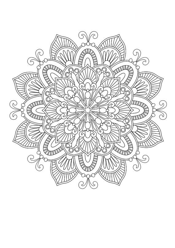 Coloring page  Mandala 15 by ColorMeCrispy on Etsy