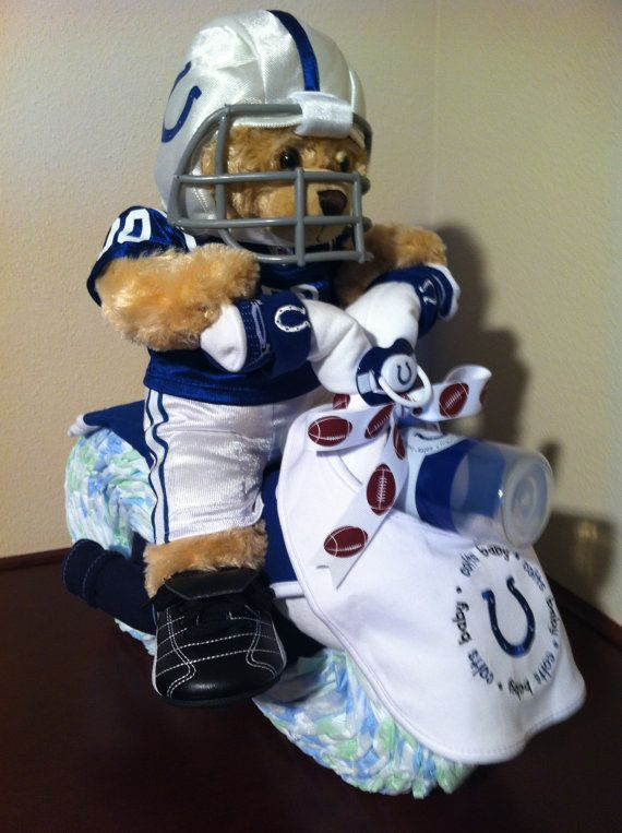 Diaper Motorcycle/ Indianapolis Colts by KeepsakeCakes on Etsy, $150.00
