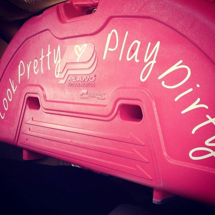 This is my bow case :) Spray painted pink with my LPPD windshield decal! http://camoandbling.storenvy.com