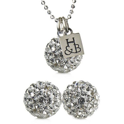 White Sparkle Earrings and Necklace Set – Hillberg & Berk