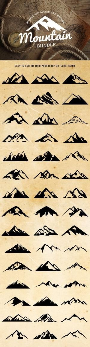 Check out Mountain Shapes For Logos Bundle by lovepower on Creative Market #carstickers by karin