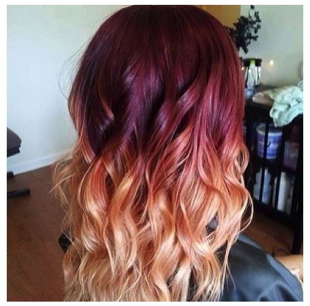Burgundy to blonde ombre -- I like the pink hues.