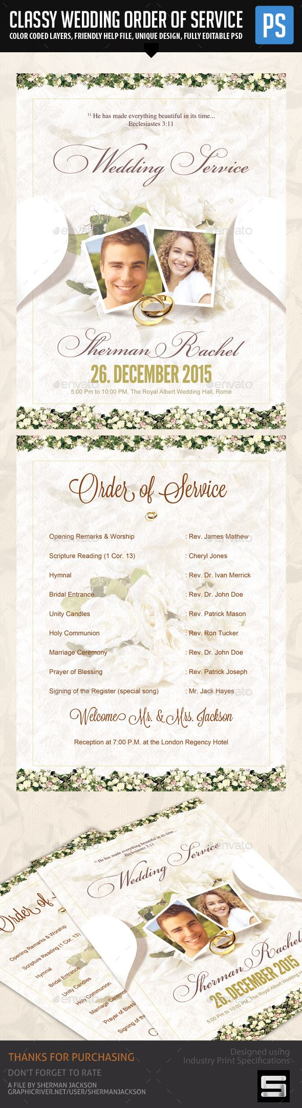 Classy Wedding Order of Service Template #design Download: http://graphicriver.net/item/classy-wedding-order-of-service-template/12714150?ref=ksioks