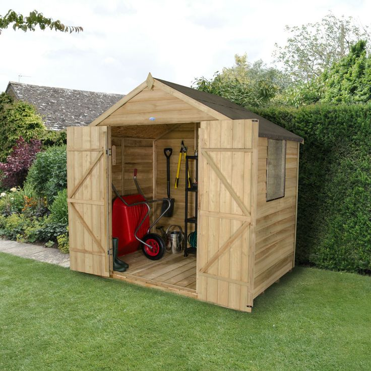 forest garden 5ft x 7ft overlap pressure treated double door apex shed - Garden Sheds 7ft X 5ft