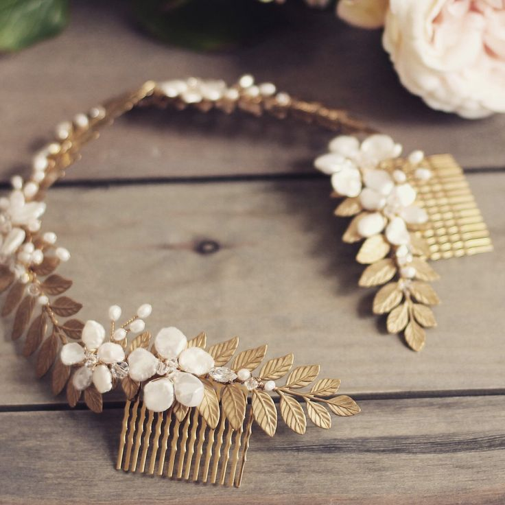 Gold bridal headpiece, Grecian floral wreath, gold crown, boho wedding halo, hair comb, gold laurel leaf, flower crown, pearl, Swarovski by JoannaReedBridal on Etsy https://www.etsy.com/uk/listing/279378428/gold-bridal-headpiece-grecian-floral