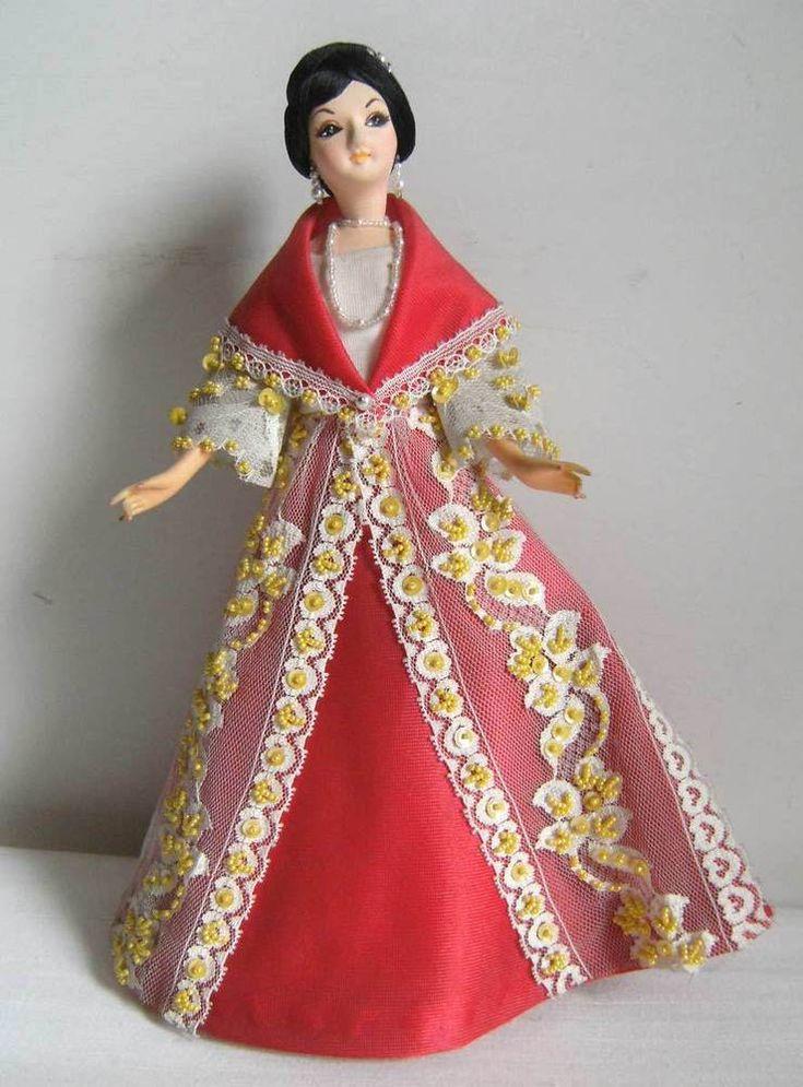 Vintage Bambola etnica souvenir MANILA - FILIPPINE DONNA 30cm Folk Costume DOLL