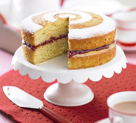 The classic tea time sponge cake is given a healthy makeover to slash the fat by half without losing any of the taste