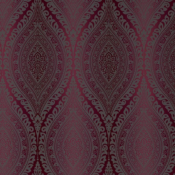 Damask Wallpaper Metallic Glitter Sparkle Textured