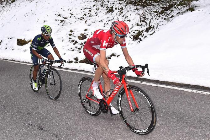Ilnur Zakarin and Nairo Quintana ride together up the final climb