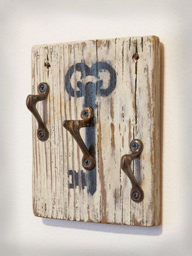 Reclaimed Wood Skeleton Key Hooks