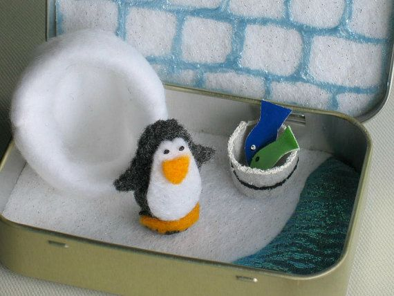 Penguin felt plush play set in an Altoid tin with by wishwithme, $21.00