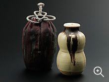 今古釉瓢茶入 仕覆 タイ絹絣 利茶土ミルグリム 作