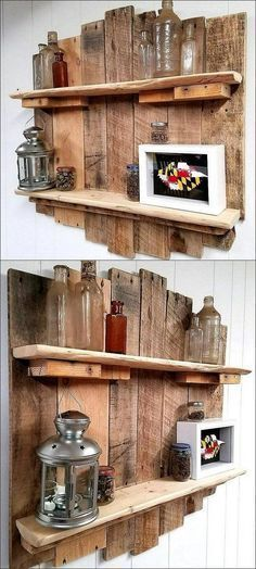Easy and Cheap Wall Shelf Made Out Of Reclaimed Wood Pallets. #woodcraftprojects