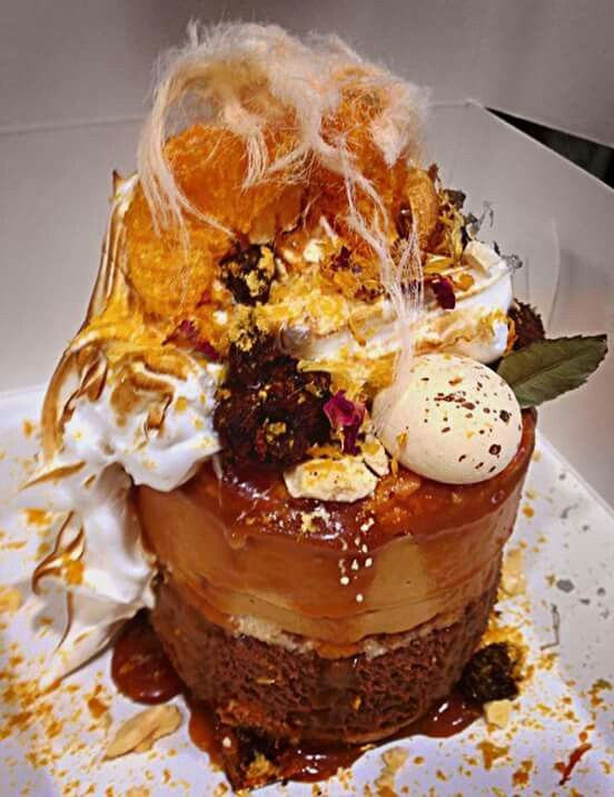 Patissez---The Persian  Chewy almond dacquoise,dark choc mousse,toasted orange creme brulee,torched meringue,drizzled salted caramel,orange blossom Persian fairy floss,gold dusted brownie chunks & freeze dried mandarin segments