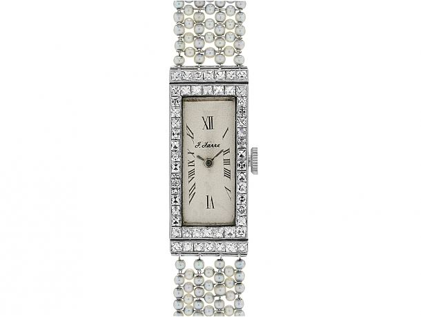 Art Deco Diamond and Natural Seed Pearl Watch in Pla #504904