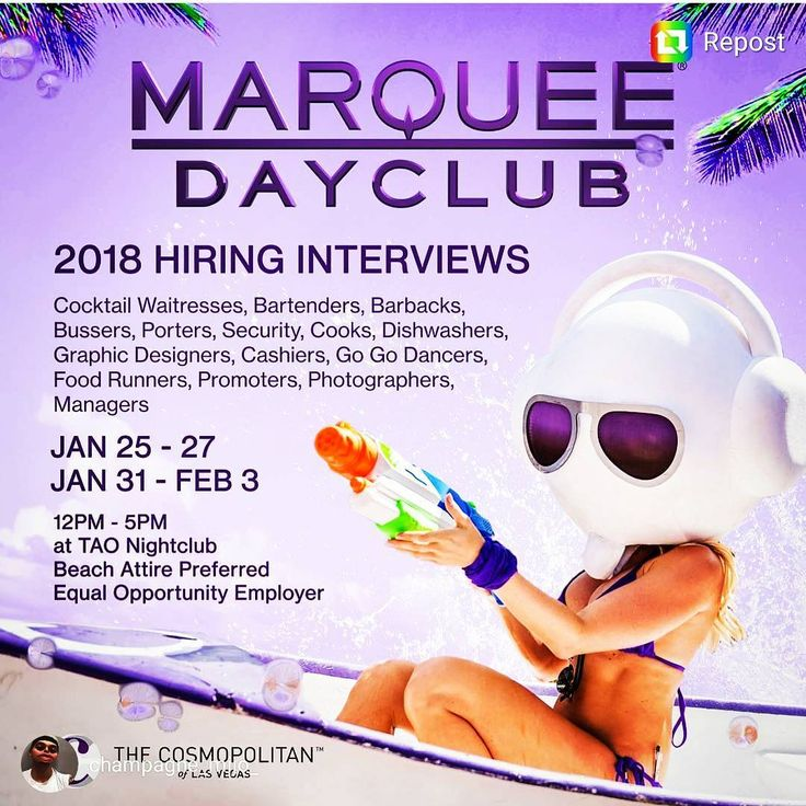 TAO Group is officially hiring for the 2018 season! Cocktail waitress Barback Bartender Bussers Bottle girls Hosts/promoters Security etc... If interested text or call me directly at: 213-210-5923. Referrals go a loong way!  @jennakaey  #marquee #marqueelv #marqueelasvegas #marqueeguestlist  #marqueepromoter #marqueenightclub #marqueevegas #marqueedayclub #dayclub #poolparty #promoters #cooks #lavo #cook #clubsecurity #bussers #busser #bartenders #bartender #barback #tablerunner #runner…