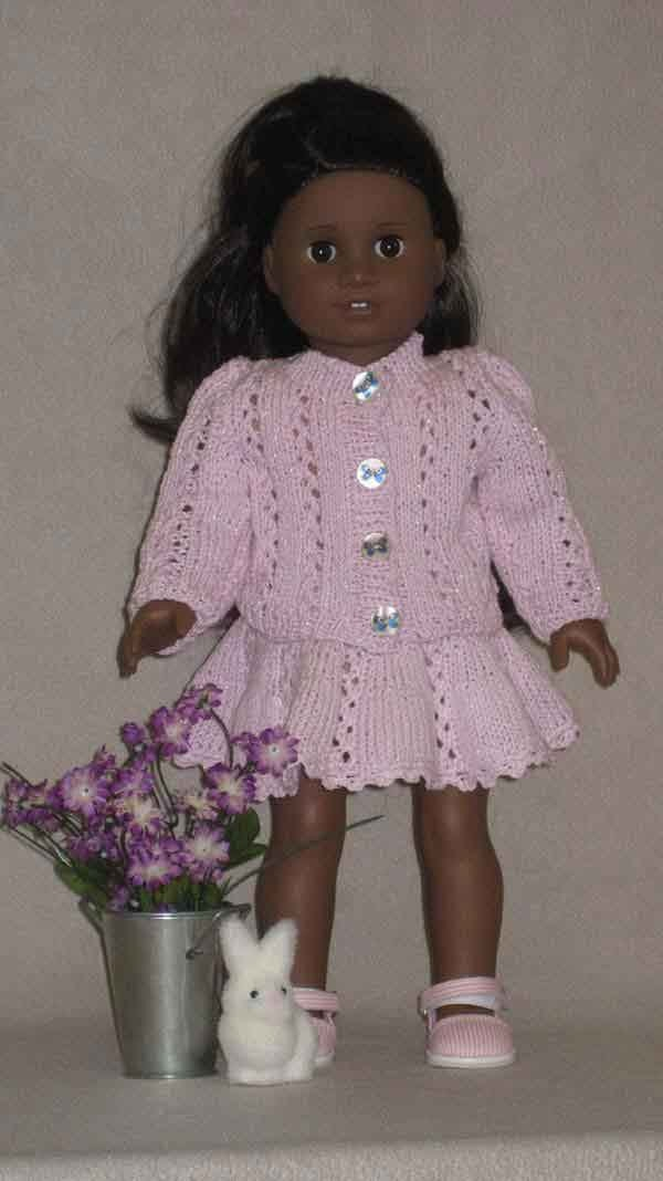 LACY KNIT JACKET with skirt Downloadable Knitting pattern for any 18 inch Doll including American Girl.. $4.95, via Etsy.