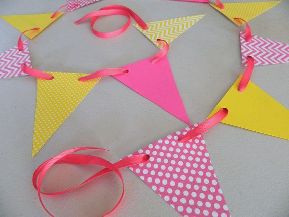 Pink Lemonade Birthday Decor/ Paper Pennant Garland / Birthday decorations / Pink and Yellow garland