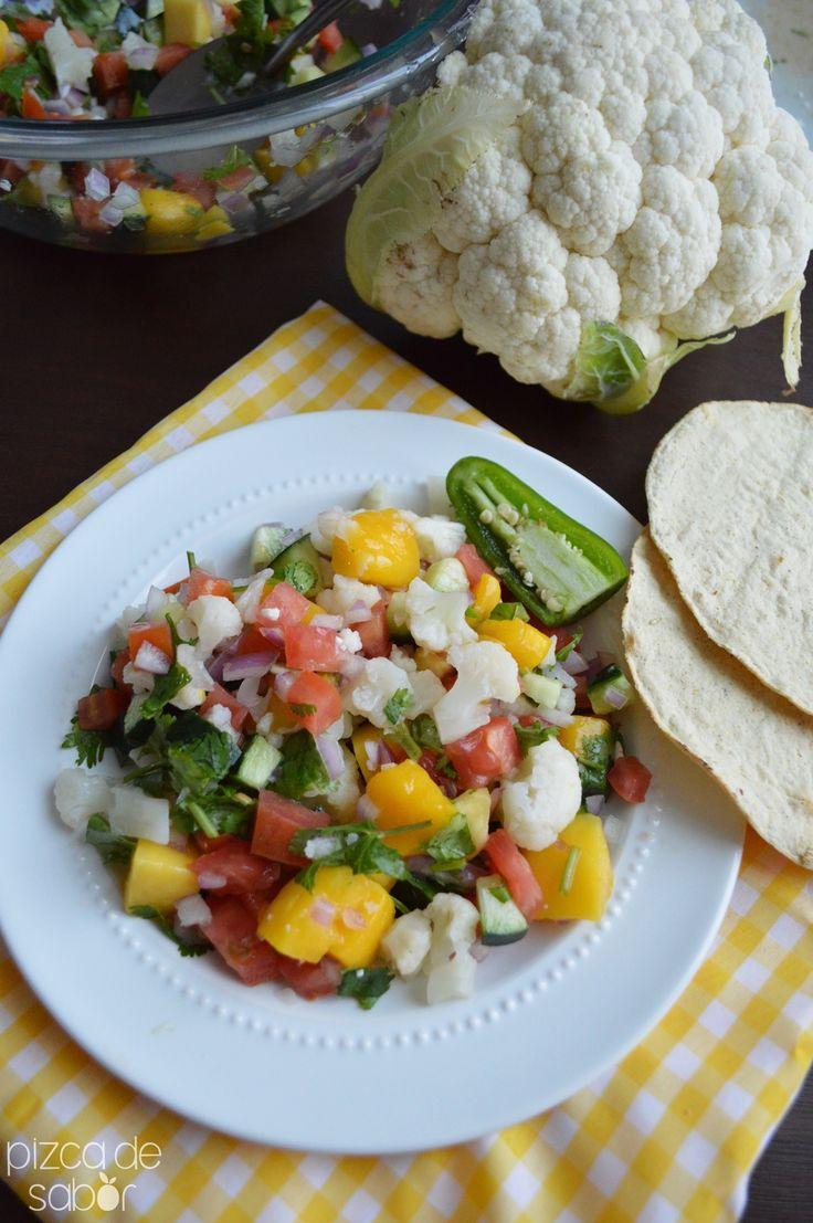 Ceviche de coliflor y mango {saludable y vegano} www.pizcadesabor.com