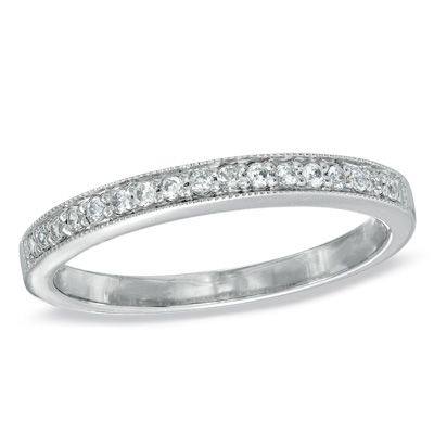 1/6+CT.+T.W.+Diamond+and+Milgrain+Band+in+10K+White+Gold