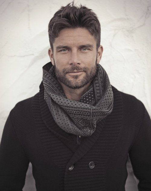 Black Cotton 'Pea Coat' Style Sweater, and Gray Tribal Scarf, Men's Fall Winter Fashion.