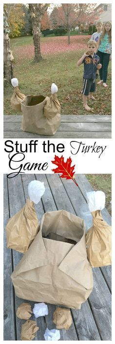 Stuff the Turkey Game. Perfect for preschool or elementary school Thanksgiving parties! Easy to make and a great way to work on gross motor skills!