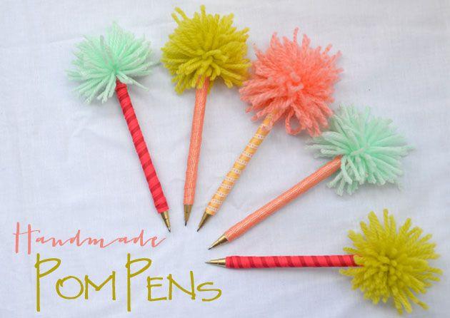 Handmade Gifts: Pom Pens - Love super cute pens? Love super cute pens that are super cheap that you can make yourself and give as gifts?! Meeee toooo! #DIYGi…