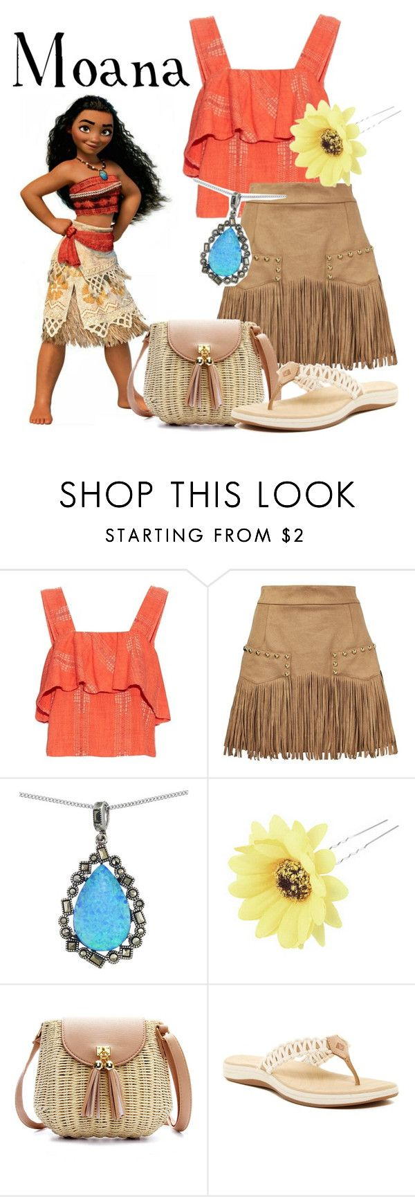 """Moana disneybound"" by isabellefadel ❤ liked on Polyvore featuring ace & jig, Just Cavalli, Lord & Taylor, Chicnova Fashion and Sperry"
