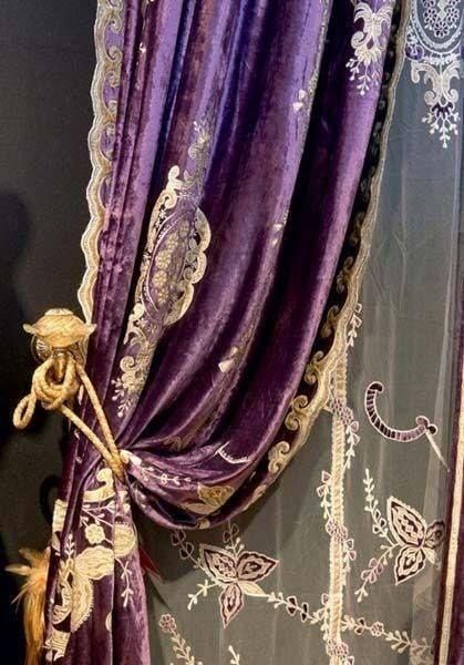 Antique velvet and lace curtains... That deep violet purple contesting delicate lace~beauty.