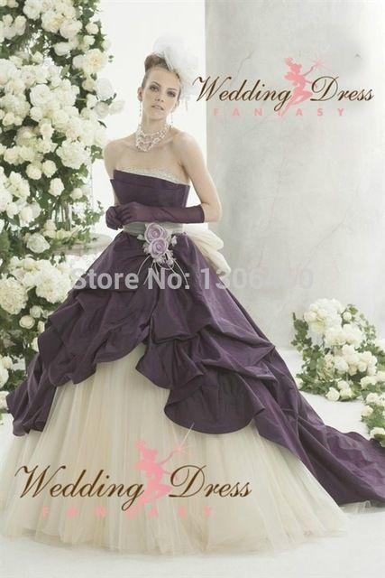 Online Shop Victorian Gothic Purple And White Wedding Dresses Fall 2016 Strapless Taffeta Sexy Bridal Gown Sweep Train Vestidos De Novia|Aliexpress Mobile