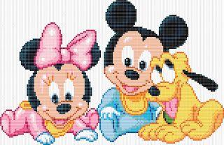 Minnie Mouse, Mickey Mouse and Pluto - Cross Stitch pattern Minnie Mouse, Mickey Mouse y Pluto en patrones punto de cruz