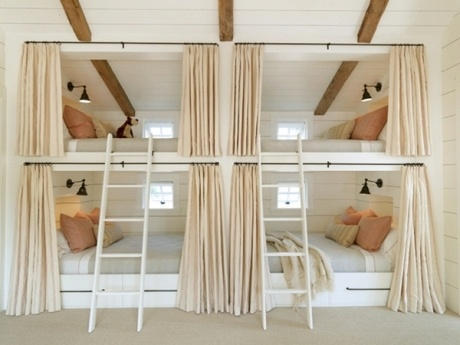 kids bunkroom with neutral privacy curtains