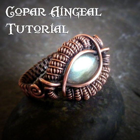TUTORIAL - Dragon Eye Ring - Wire Wrapped Class - Jewelry Pattern - Wire Wrapping - Wire Wrapped Ring Lesson - Caterpillar Coil Ring