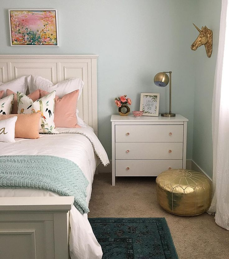 wall color is embellished blue by sherwin williams mixed at 50 - Girls Bedroom Color
