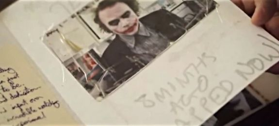 """This is the make-up test,"" Ledger said as he thumbed through the diary's last pages, noting that his son came back to write a note underneath the picture when the film wrapped eight months later. 