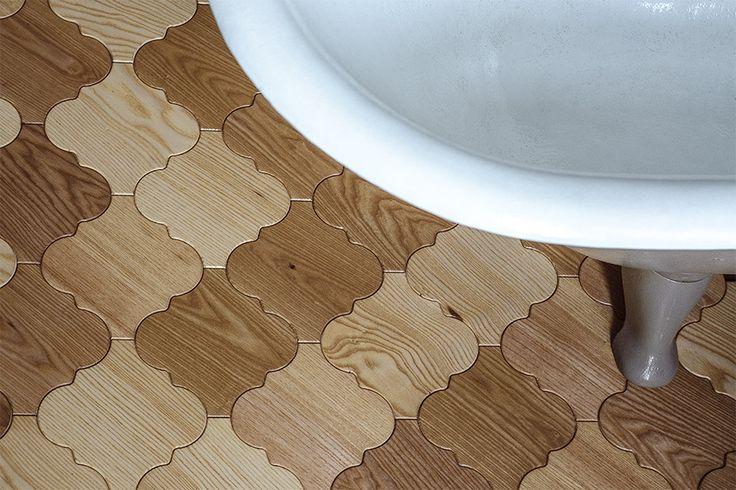 Tiles made of ash wood in bathroom.