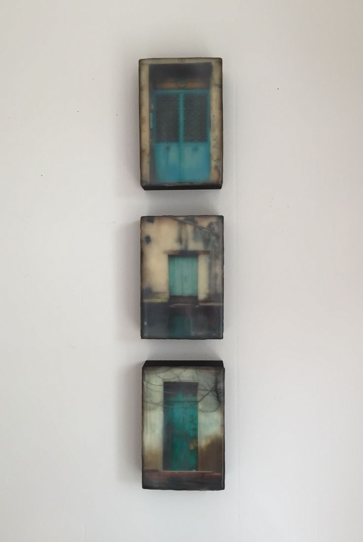 """Series of """"portals"""" inspired by our trip to France. 4x6 each Encaustic"""