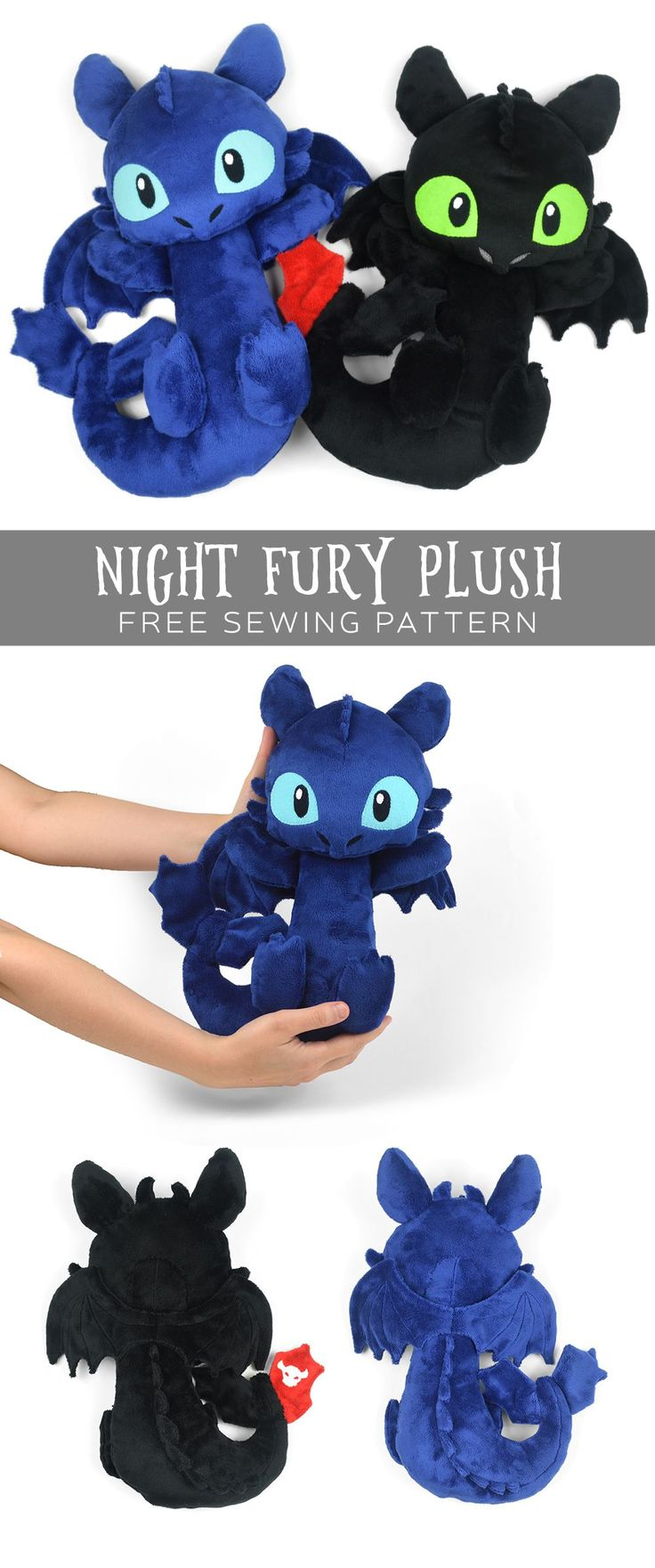 Free sewing tutorial: Make your own cuddly version of a Night Fury! #diy