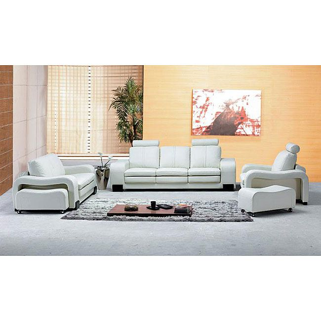 Oakland Modern White Leather Living Room Set Overstock Shopping Great Deals On Italia