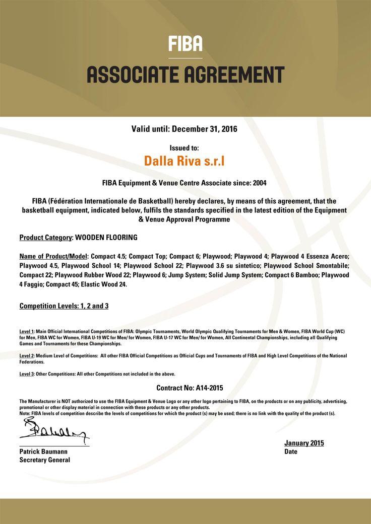 Certificazione FIBA Pavimentazioni sportive Dalla Riva 2016