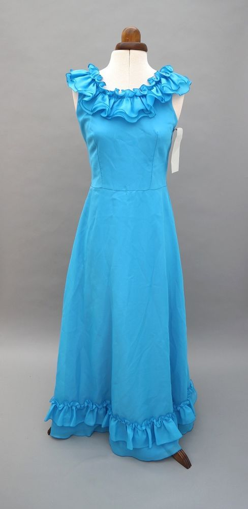 Vtg Dead Stock Blue Bridesmaid Evening 70's Boho Evening Maxi Dress UK 8-10 (G)