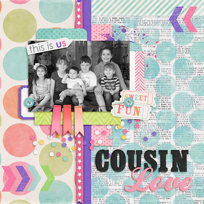 digital scrapbook layout, family, cousins, Easter, polka dots, arrows, tween, teen, mixed alpha