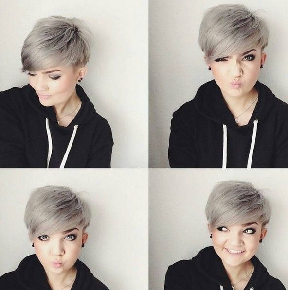 Grey, Layered Pixie Cut - Short Hairstyles for Round Face Shape