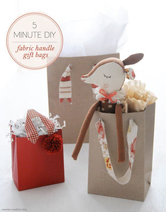 5 Minute DIY: Fabric Handle GiftBags - Home - Creature Comforts - daily inspiration, style, diy projects + freebies