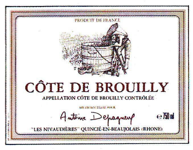 Cote de Brouilly French Wine Label
