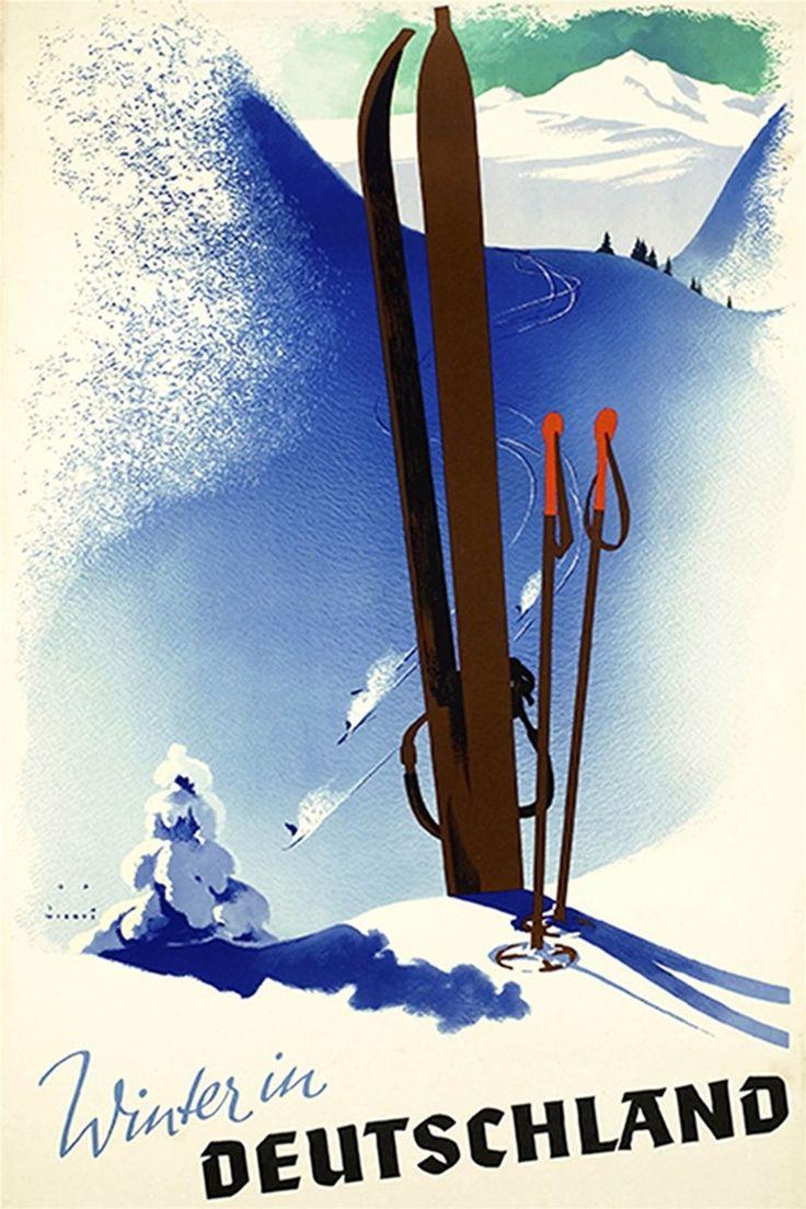 Зимой на лыжах шелковый холст арт-mail мультфильм минималистский художественные картины украшение дома экстремальные виды спорта YD319